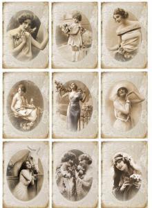 Винтажные женщины, декупажная карта №34 - Заготовки для декупажа. Интернет-магазин Завиток