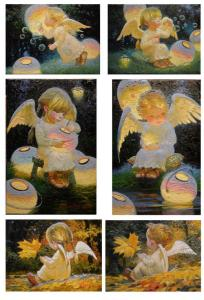 Ангелы на темном фоне, картины Виктора Низовцева, карта для вживления - Заготовки для декупажа. Интернет-магазин Завиток