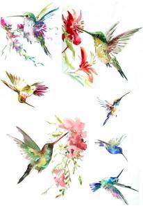 Акварельные птички №82, декупажная карта - Заготовки для декупажа. Интернет-магазин Завиток