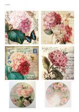 Цветочный коллаж Гортензия, декупажная карта №92