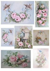 Голубые птички, розовые розы, декупажная карта №103 - Заготовки для декупажа. Интернет-магазин Завиток