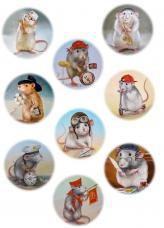 Крыски, круглые картинки, декупажная карта №129