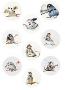 Крыски-музыканты, круглые картинки, декупажная карта №130 - Заготовки для декупажа. Интернет-магазин Завиток