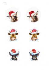 Коровки в новогодних шапочках, карта для декупажа №153
