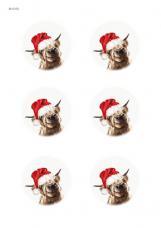 Коровки новогодние, 6 одинаковых изображений, карта для декупажа №154