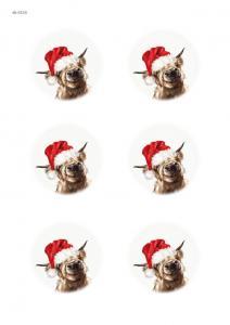 Коровки новогодние, 6 одинаковых изображений, карта для декупажа №154 - Заготовки для декупажа. Интернет-магазин Завиток