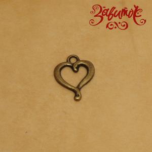Подвеска Сердце, цвет латунь, 14х18 мм - Заготовки для декупажа. Интернет-магазин Завиток