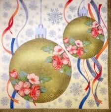 Новогодние шары, 33х33 см, салфетка для декупажа