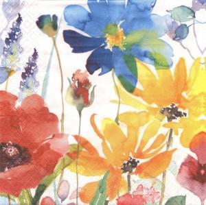 Акварель Цветочное ассорти, 33х33 см, салфетка для декупажа - Заготовки для декупажа. Интернет-магазин Завиток