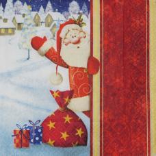 Здравствуй, Дедушка Мороз!, 33х33 см, салфетка для декупажа