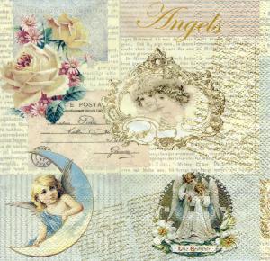 Коллаж с ангелочками, 33х33 см, салфетка для декупажа - Заготовки для декупажа. Интернет-магазин Завиток