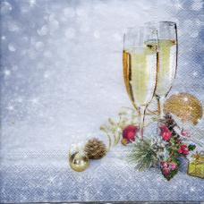 Бокалы с шампанским, 33х33 см, салфетка для декупажа