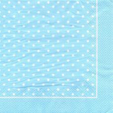 Горошек, голубой фон, 33х33 см, салфетка для декупажа