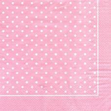 Горошек, розовый фон, 33х33 см, салфетка для декупажа