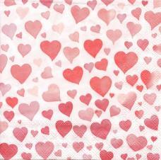 Алые сердечки, 33х33 см, салфетка для декупажа