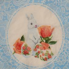Белый зайка (Пасха), 33х33 см, салфетка для декупажа