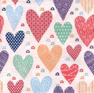 Разноцветные сердечки, 33х33 см, салфетка для декупажа - Заготовки для декупажа. Интернет-магазин Завиток