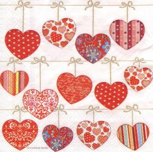 Сердечки-подвески, 33х33 см, салфетка для декупажа - Заготовки для декупажа. Интернет-магазин Завиток