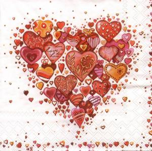 Сердце из сердец, 33х33 см, салфетка для декупажа - Заготовки для декупажа. Интернет-магазин Завиток