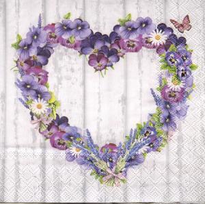 Цветочный венок сердце, 33х33 см, салфетка для декупажа - Заготовки для декупажа. Интернет-магазин Завиток