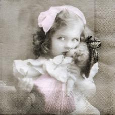 Винтажное фото девочки Sagen, 33х33 см, салфетка для декупажа