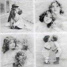 Винтажные фото детей Sagen, 33х33 см, салфетка для декупажа