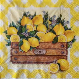 Ящик с лимонами, 33х33 см, салфетка для декупажа - Заготовки для декупажа. Интернет-магазин Завиток