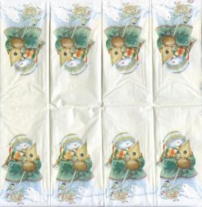 Снеговик со скворечником, 21х21 см, салфетка для декупажа - Заготовки для декупажа. Интернет-магазин Завиток