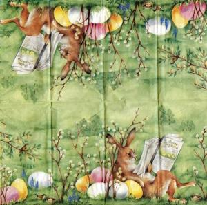 Читающий пасхальный кролик, 21х21 см, салфетка для декупажа - Заготовки для декупажа. Интернет-магазин Завиток