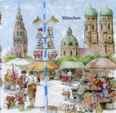 Мюнхен, 33х33 см,  салфетка для декупажа