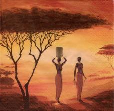 Африка. Женщины, 33х33 см,  салфетка для декупажа