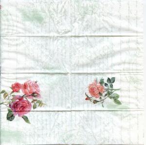 Розы на письме, 21х21 см, винтажная иллюстрация, салфетка для декупажа - Заготовки для декупажа. Интернет-магазин Завиток