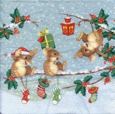 Новогодние мышата, 33х33 см, салфетка для декупажа