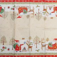 Дед Мороз с подарками, 21х21 см, салфетка для декупажа