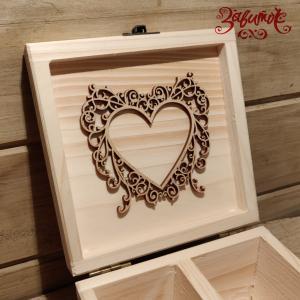 Сердце филигранное, декоративная накладка из фанеры, 10х9 см - Заготовки для декупажа. Интернет-магазин Завиток