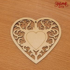 Сердце в ажурной раме, фанера, 10х9 см - Заготовки для декупажа. Интернет-магазин Завиток