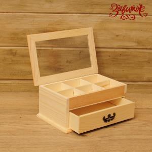 Органайзер с ящиком, 22х13,5х9,5 см; сосна, фанера - Заготовки для декупажа. Интернет-магазин Завиток