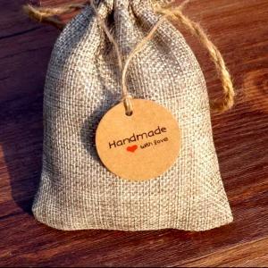 Бирка крафтовая Handmade with love, 3,5 см, картон - Заготовки для декупажа. Интернет-магазин Завиток