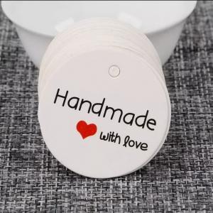 Бирка белая Handmade with love, 3,5 см, картон - Заготовки для декупажа. Интернет-магазин Завиток