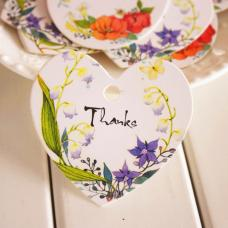 Thanks, бирка цветочная в форме сердца, 58х56 мм