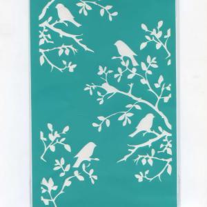 Трафарет №40 Птицы в саду, клеевой, 19х11 см - Заготовки для декупажа. Интернет-магазин Завиток
